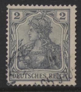 GERMANY. -Scott 65C- Definitives -1902 -Used - Grey - Single 2pf Stamp2