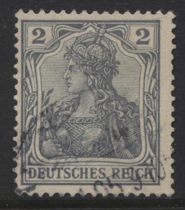 GERMANY. -Scott 65C- Definitives -1902 -Used - Grey - Single 2pf Stamp2