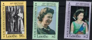 Lesotho SC531-533 Queen Elizabeth II-60th Birthday MNH 1986
