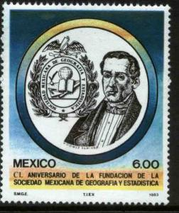 MEXICO 1314 150th Anniv Soc of Geography and Statistics MINT, NH. VF.