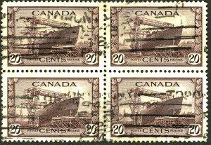 CANADA #260 USED BLOCK OF 4