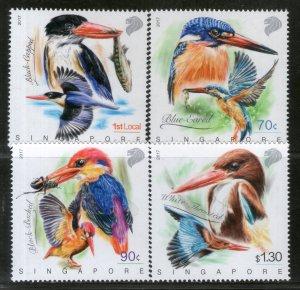 Singapore 2017 Kingfisher in Action Birds Wildlife Fauna Fish 4v Set MNH # 897