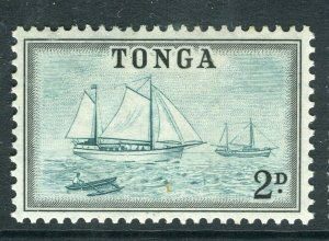 TONGA; 1953 early QEII issue fine Mint hinged 2d. value