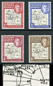 Falkland Is Deps SG G3/7 Gap 8th Parallel and Dot before L Set of 4 U/M