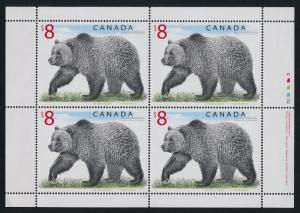 Canada 1694 Plate Block Sheet MNH Grizzly Bear