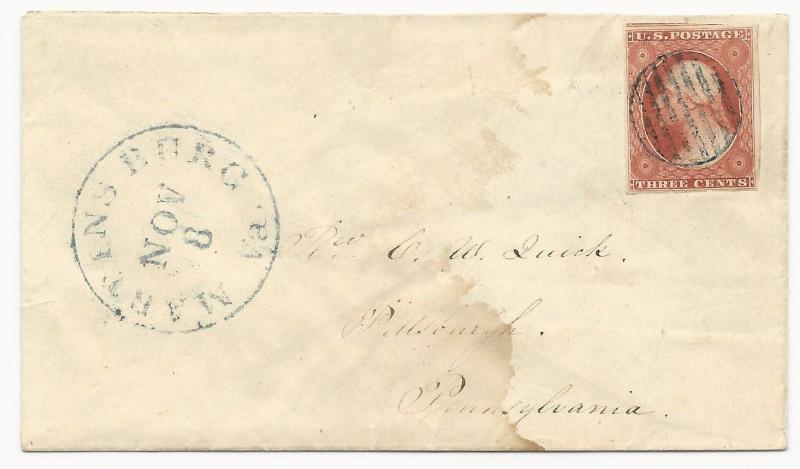 US Scott #10 Orange Brown on Cover Martinsburg, WV November 8, 1851 XF