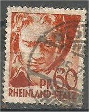 RHINE PALATINATE, 1947, used 60pf, Beethoven Scott 6N12