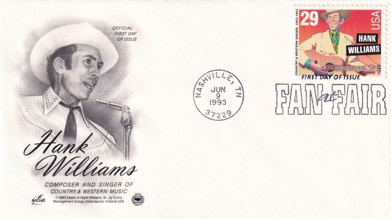 1993, Honoring Hank Williams, Art Craft/PCS, FDC (E11290)
