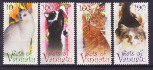 VANUATU CAT CATS SET OF 4 MNH 2011 FAUNA