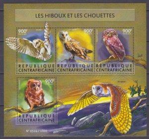 2015 Central African Republic 5645-5648KL Birds / Owl 16,00 €
