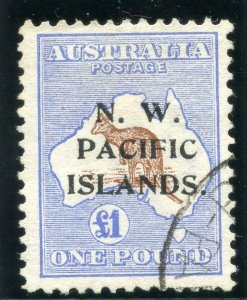 New Guinea 1915 Roos £1 brown & ultramarine (Type A ovpt) VFU. SG 85. Sc 10.