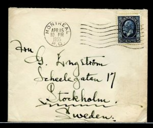 1935 five cent surface UPU rate Medallion >> SWEDEN << cover Canada