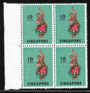 Singapore 1968 Sc 88a P13 Chalky Paper 10c B/4 MNH