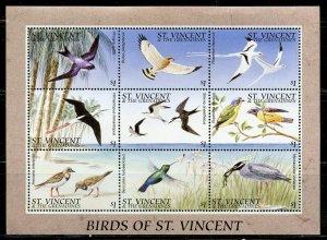 ST. VINCENT GRENADINES SCOTT #2290  BIRDS  SHEET MINT NH
