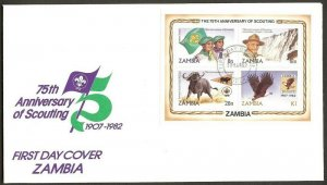 1982 Zambia 7th anniversary of Boy Scouts m/s 4 FDC
