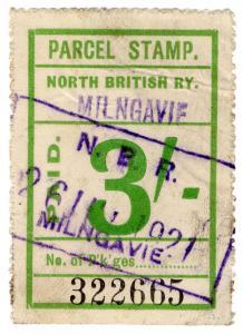 (I.B) North British Railway : Parcel Stamp 3/- (Milngavie)