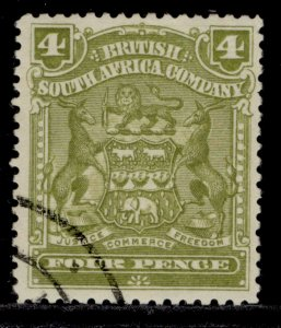 RHODESIA QV SG82, 4d olive, FINE USED.