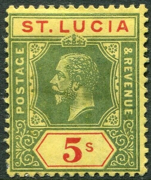 ST LUCIA-1912-15 5/- Green & Red/Yellow Sg 88 AVERAGE MOUNTED MINT V49015
