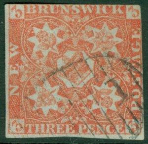 EDW1949SELL : NEW BRUNSWICK 1851 Scott #1 Very Good, Used. Light cancel Cat $575