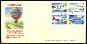 Bermuda Sc# 441-444 FDC 1983 10.13 Manned Flight 200th