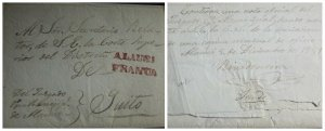 O) 184 ECUADOR. PRESTAMP -PREPHILATELY, FINE STRIKE OF ALAUSI FRANCA IN RED -STA