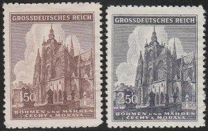 Stamp Germany Bohemia Czechoslovakia Mi 140-1 Sc 88-9 1940 WWII Church MH