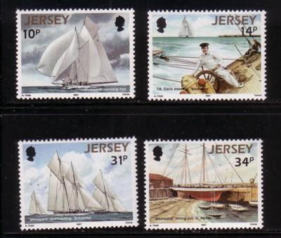 Jersey  Sc 414-7 1987 racing Schooner Westward stamp set NH