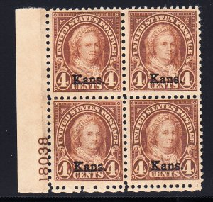#662 VF OG Plate Block bottom 2 stamps NH. Nice plate!