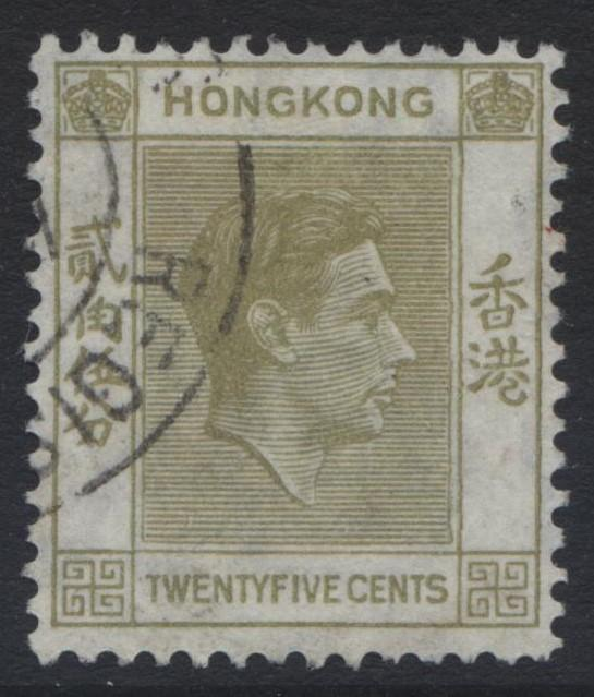 Hong Kong - Scott 160A - KGVI Definitive Issue- 1938 - FU - Single 25c Stamp