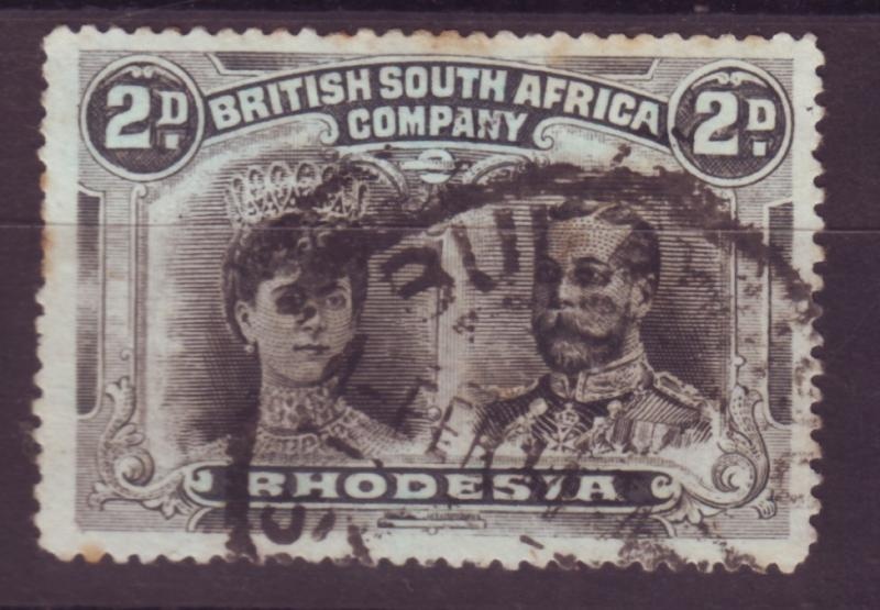 J17090 JLstamps 1910 rhodesia used #103b perf 15 king and queen