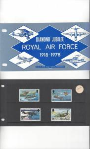Isle of Man 109-12 Air Force Diamond Jubilee 1978 MNH Presentation Pack