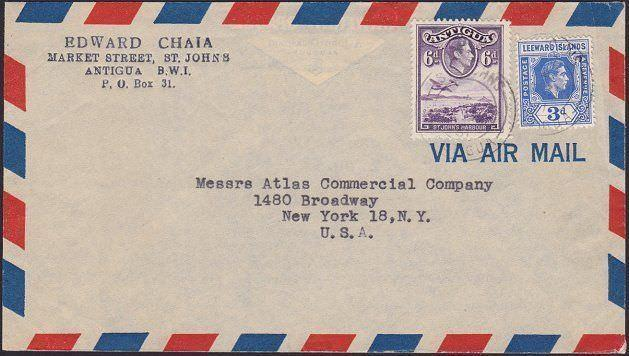 ANTIGUA LEEWARD IS 1951 mixed franking 9d airmail rate cover to USA.........6584