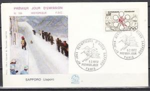 France, Scott cat. 1332. Sapporo Winter Olympics issue on a First day cover.