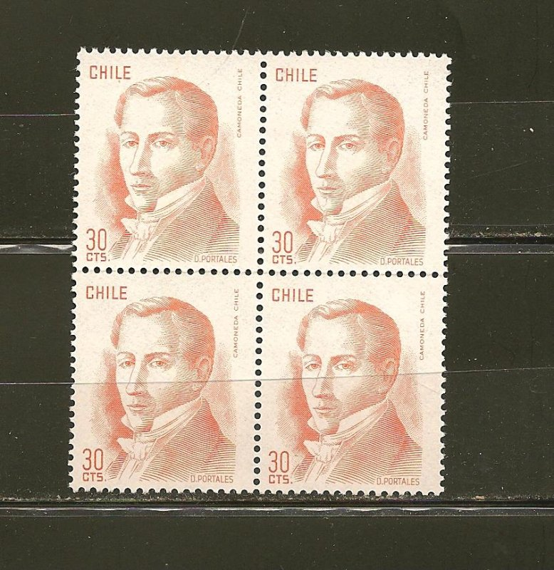 Chile D. Portales 30Cts Orange Issue Block of 4 MNH