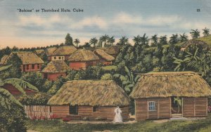 Cuba Postcard  Bohios or Thatched Huds Unused