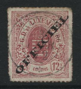 Luxembourg 1875 12 1/2c rose overprinted OFFICIAL CDS used