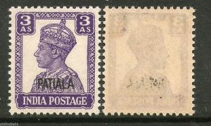 India PATIALA State 3As KG VI Postage SG110 Cat £8 MNH