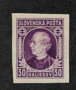 Slovakia 1939,Hlinka Issue,Scott # 29a Imperf,VF MNH**OG (AD-St)