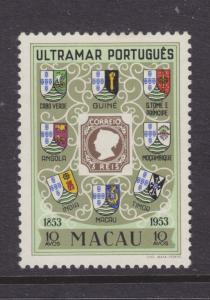 Macao Sc 371 MLH. 1954 10a Stamp on Stamp