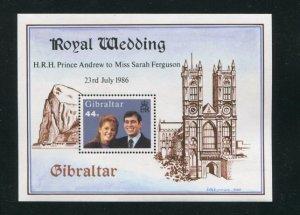 Gibraltar MNH S/S 498 Royal Wedding Prince Andrew & Sarah Ferguson 1986