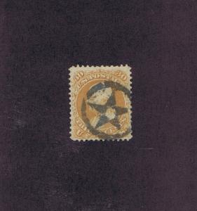 SC# 71 USED 30c FRANKLIN, 1861, 5 PT HOLLOW STAR IN CIRCLE FANCY CANCEL, PF CERT