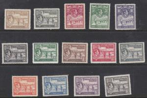 TURKS & CAICOS 1938 - 45    S G  194 - 205  SET OF 14  MH  CAT £130