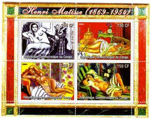 Congo 2004 Matisse NUDES paintings Sheet (4) Perforated mnh.vf