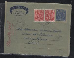 ST LUCIA  COVER (PP1709B) 1967 10C AEROGRAMME+QEII 3C PR TO USA WITH MSG