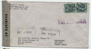 1945 St. Louis registered airmail to Brazil 2x 20ct prexie [y4418]