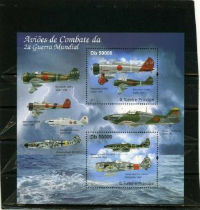 ST.THOMAS & PRINCE ISLANDS 2011 MILITARY AVIATION SHEET OF 2 STAMPS MNH