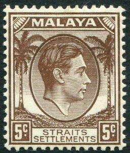 STRAITS SETTLEMENTS-1937 5c Brown Sg 281 MOUNTED MINT V33971