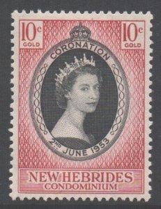 Vanuatu New Hebrides Scott 77 - SG79, 1953 Coronation 10c MH*