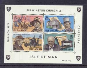 Isle of Man Sc51a 1974 Churchill stamp sheet