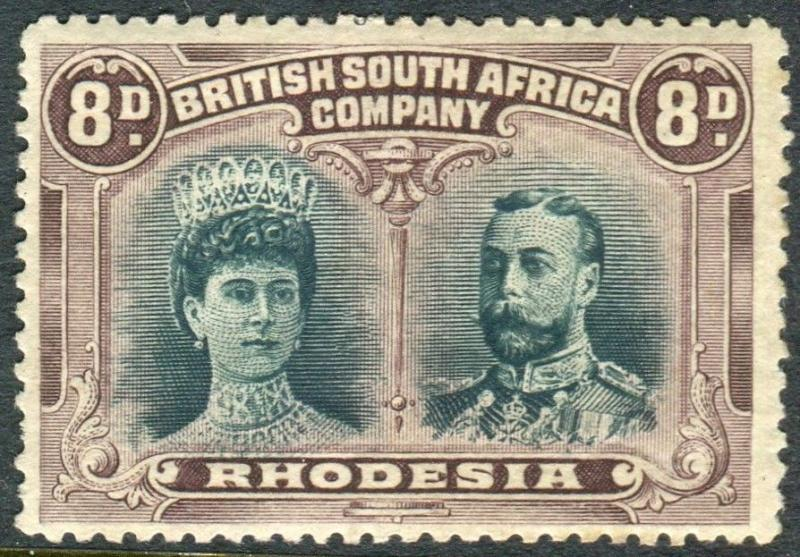 RHODESIA-1910-13 8d Greenish Black & Purple.  A mounted  mint example Sg 148